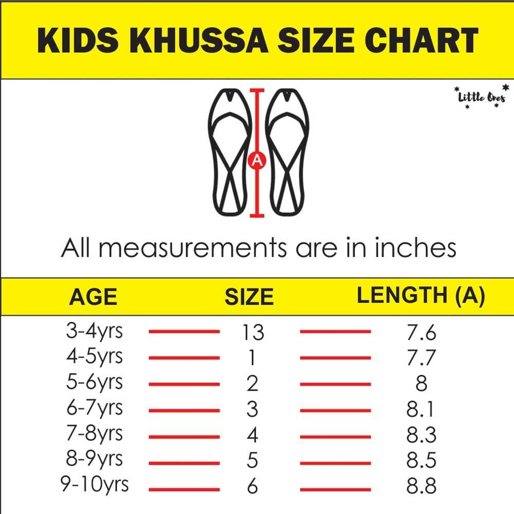Khussa Size Chart